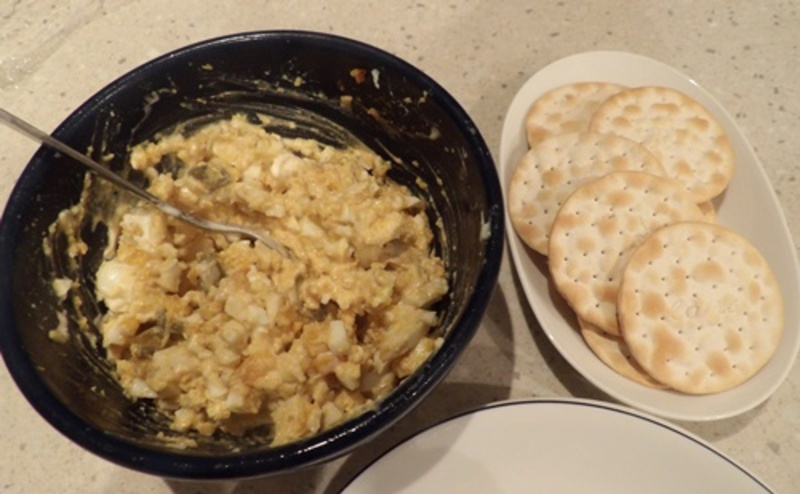 egg,dip,entree,served,with,crackers  - Tasty Egg Entree or Dip