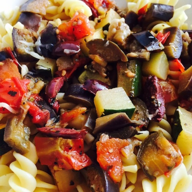Eggplant And Zucchini Ragout  - Hearty Eggplant And Zucchini Ragout With Kalamata Olives