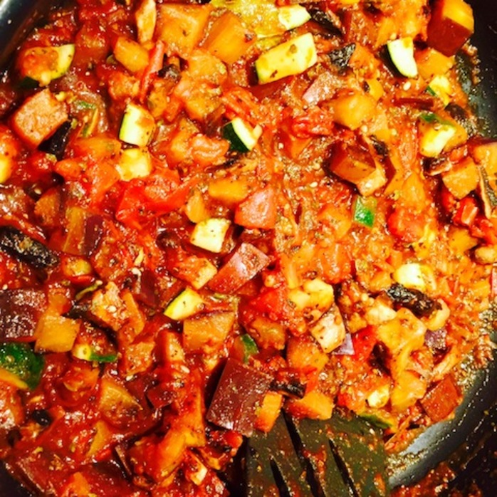 Eggplant And Zucchini Ragout With Pasta