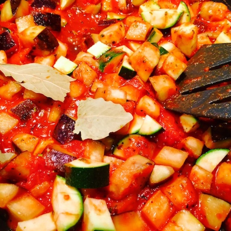 Eggplant And Zucchini Ragout With Pasta  - Hearty Eggplant And Zucchini Ragout With Kalamata Olives