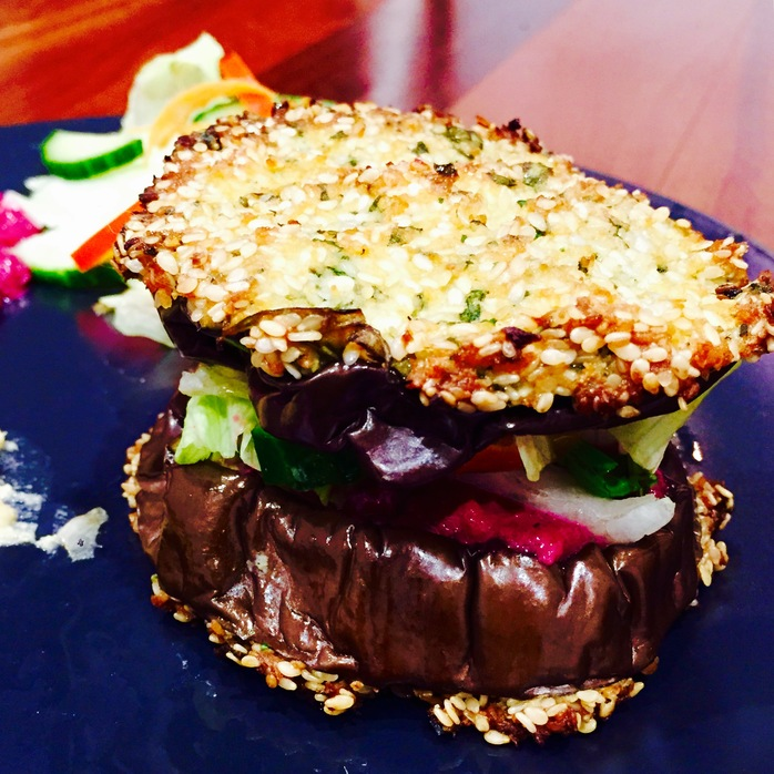 Eggplant Burger With Beetroot Hummus