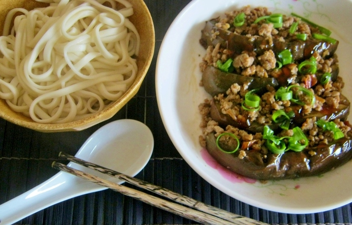 Eggplants with spicy minced pork