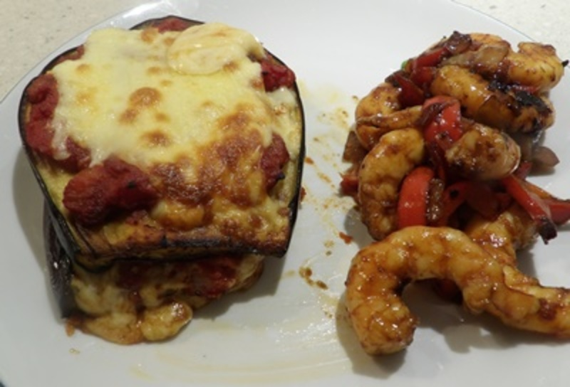 eggplant,stacks,served,with,honeyed,prawns  - Eggplant with Mozzarella and Cooked Tomato Sauce Stacks