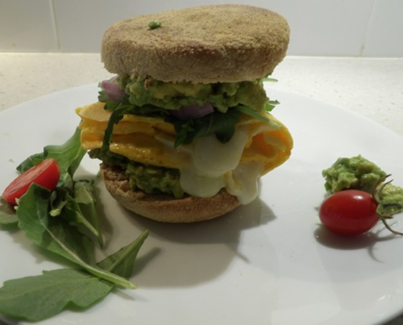 English,muffin,brunch,with,cheese,avocado  - Brunch Cheesy Egg Pancake and Avocado English Muffin