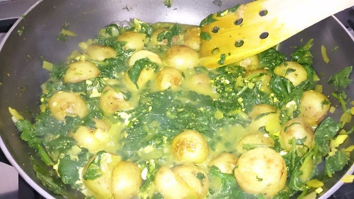 Frying Spinach
