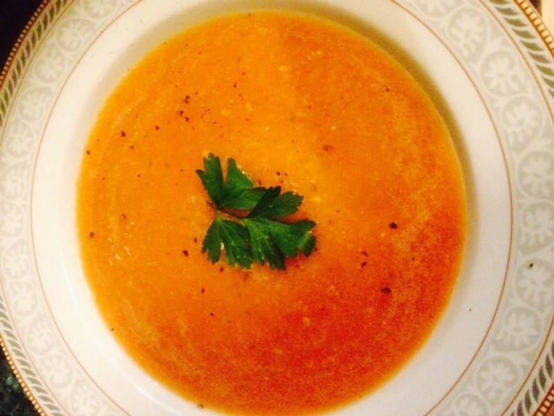 Finished soup in the bowl 