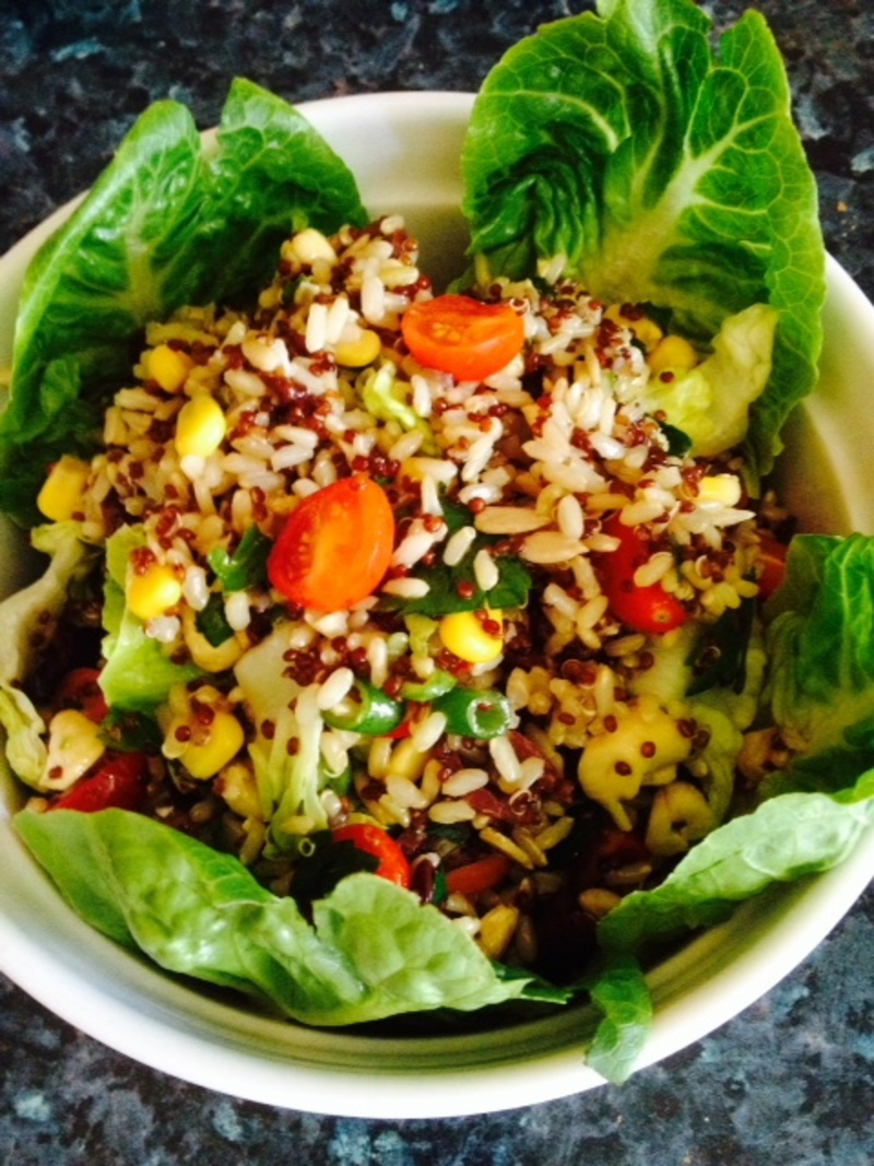 finshed salad in the bowl   - Brown Rice and Red Quinoa Salad
