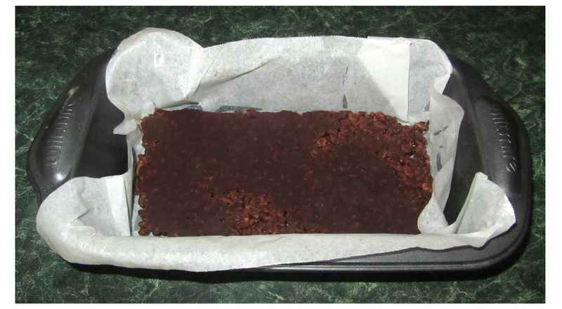 First layer of chocolate crackle loaf  - Chocolate Crackle And Ice-Cream Loaf