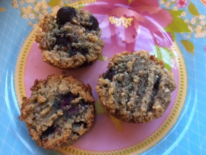 Flourless blueberry coconut muffins on pink plate