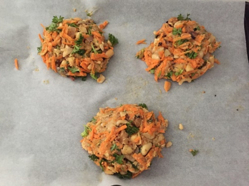 cooking,ingredients,with,nuts  - Carrot Nutburger with Coleslaw Salad