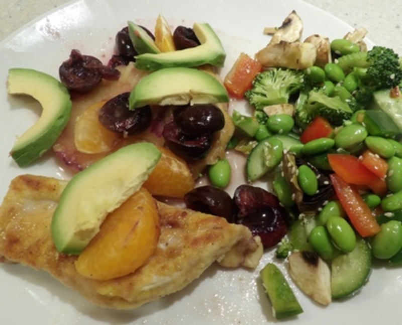 fruity,chicken,with,an,edamame,and,broccoli,salad  - Fruity Chicken with an Edamame Vegetable Salad