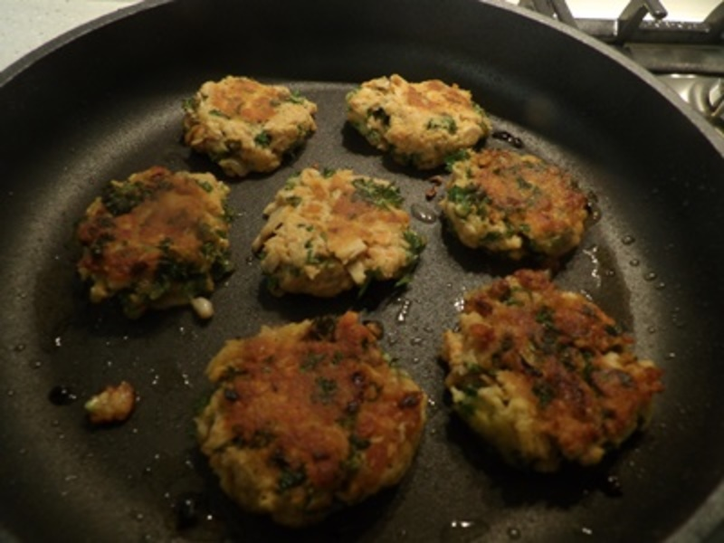 mixing,parsley,cheese,salmon,for,patties  - Pink Salmon Patties with Asparagus & Mushroom Risotto