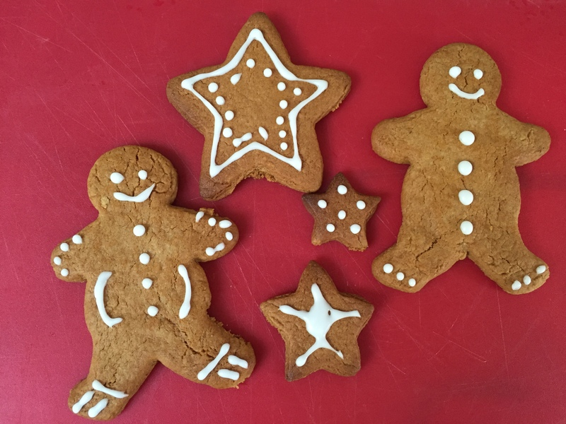 Gingerbread men, stars, christmas