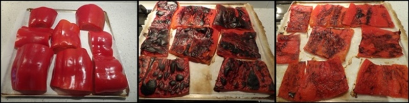 grilling,capsicum,taking,off,skin  - Open Greek Pie With Mascarpone Filled Capsicums