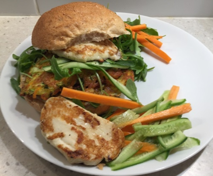 Haloumi, vegetable,rissole,burger
