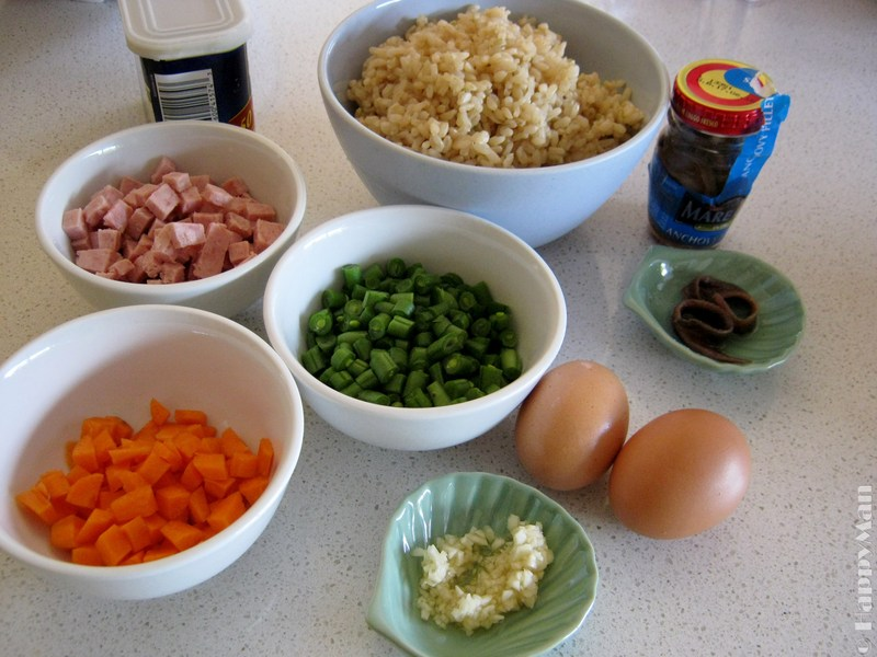 Stir Fried Brown Rice with Anchovy, French beans and Canned Meat
