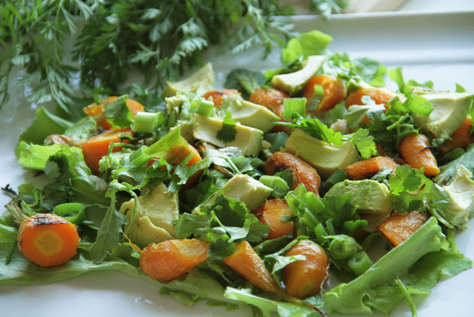 Healthy carrot, avocado and herb salad, roast vegetable lunch