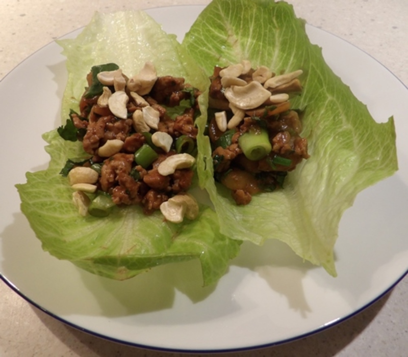 hoisin,turkey,with,cashews,on,a,bed,of,lettuce  - Hoisin Turkey and Cashews on Lettuce Leaf Beds