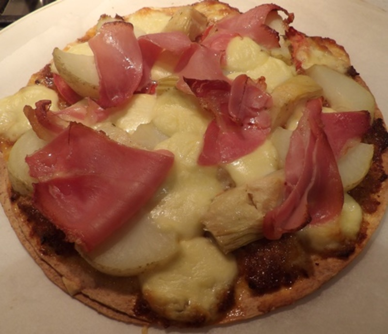 home,made,pizza,base,with,prosciutto,bocconcini  - Homemade Pizza with Bocconcini and Prosciutto