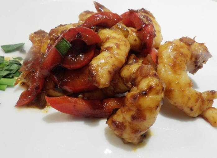 honey,prawns,with,red,capsicum