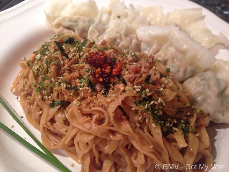 Pork Wonton Served with Dry-Tossed Egg Noodles in Sesame Paste