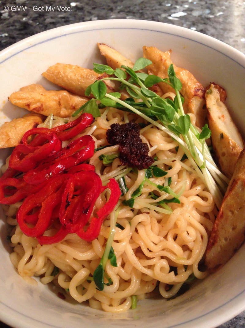 Quick Korean Noodles served with Fish Sticks