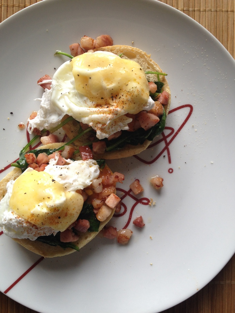 Poached Eggs Ham Spinach Breakfast