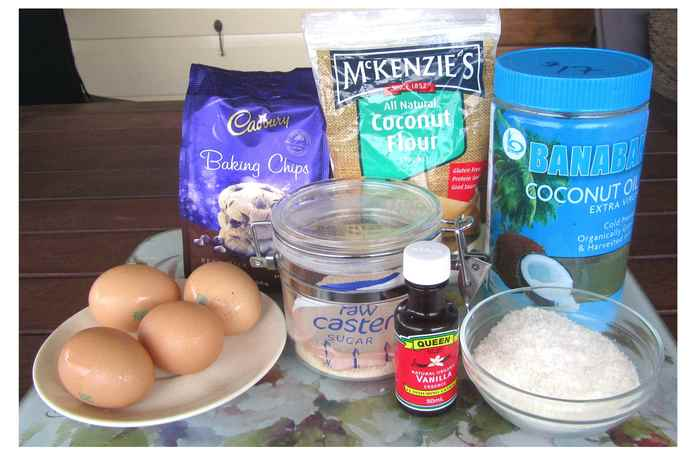 Ingredients for Coconut flour and Chocolate chip cookies