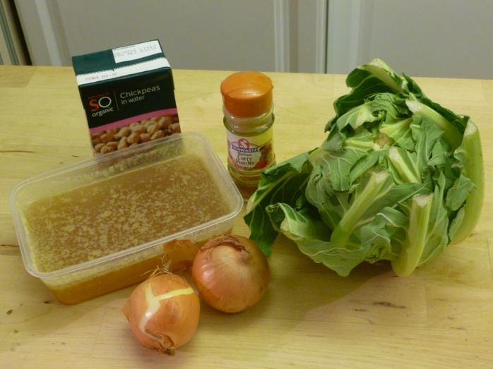 ingredients homemade soup cauliflower chickpeas stock