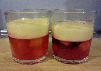 jelly and custard in a glass