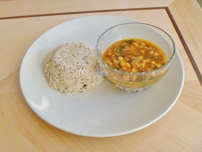 lamb pilau rice with chana dhal