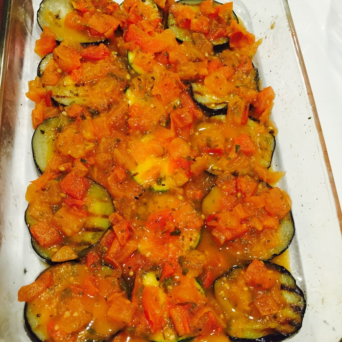 Sliced Eggplant And Zucchini Parmigiana
