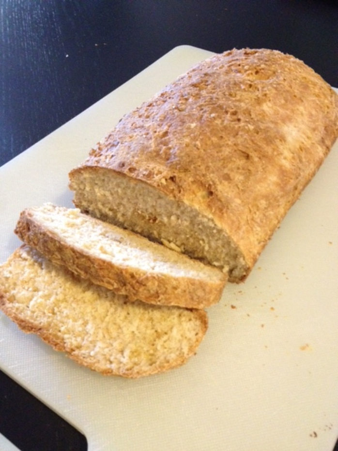 loaf tin baked bread cut