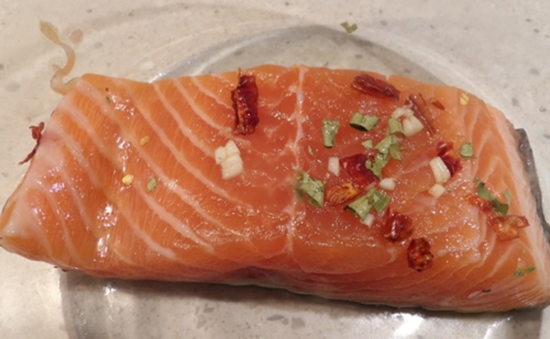 marinating,the,salmon  - Salmon Steaks with Mango and Chili