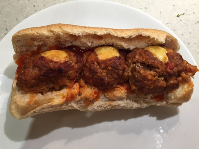 meatball,cheesy,hot,dog