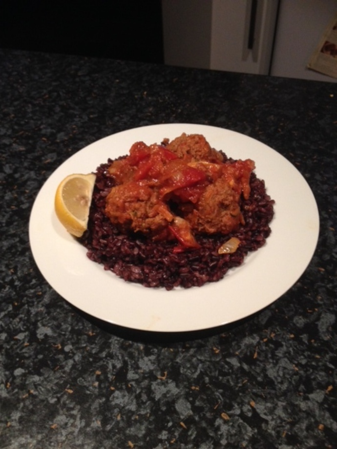 Meatballs with Black Rice