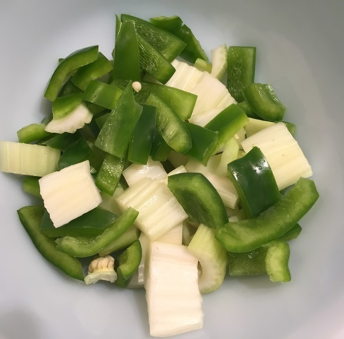 mixing,celery,pineapple,and,rice