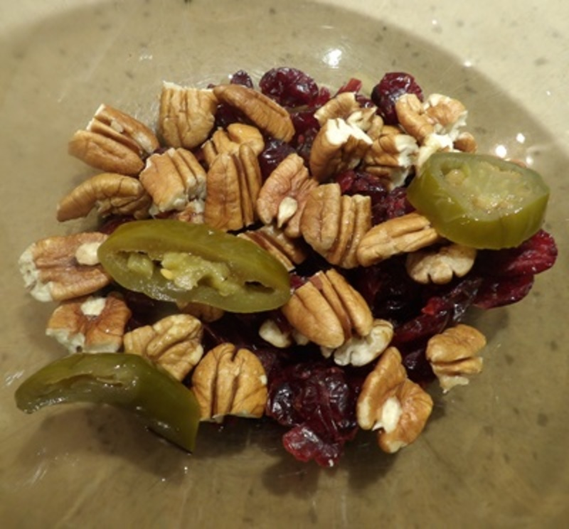 mixing,pecans,with,lettuce,cranberries,and,jalapenos  - Cranberry and Chicken Salad with Crunchy Potato Bake