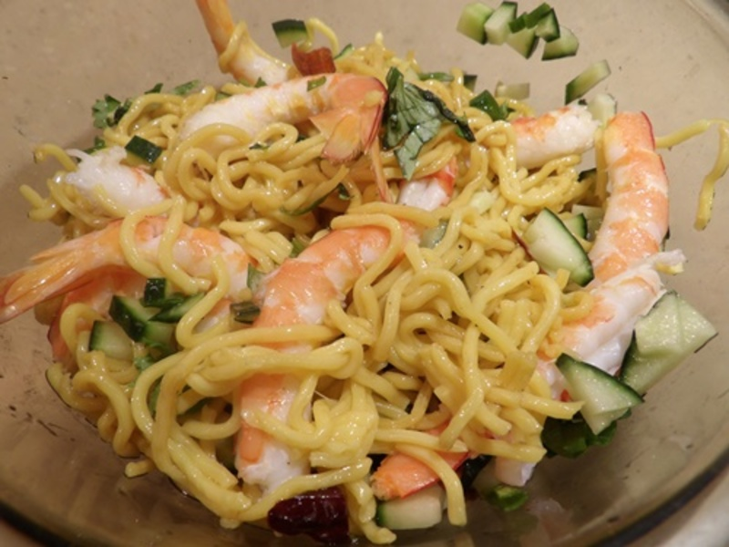 making,sauce,for,prawn,noodles  - Prawn Chili Noodles with Honeyed Haloumi and Watermelon Salad