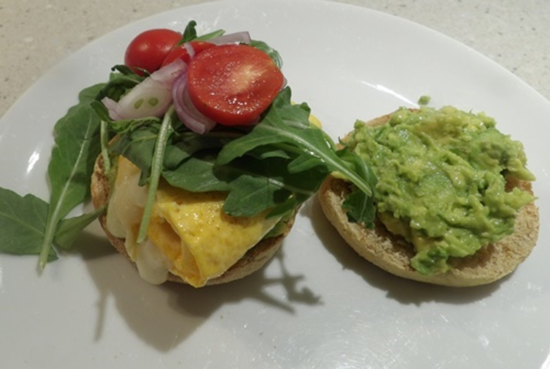 muffin,ready,to,eat  - Brunch Cheesy Egg Pancake and Avocado English Muffin