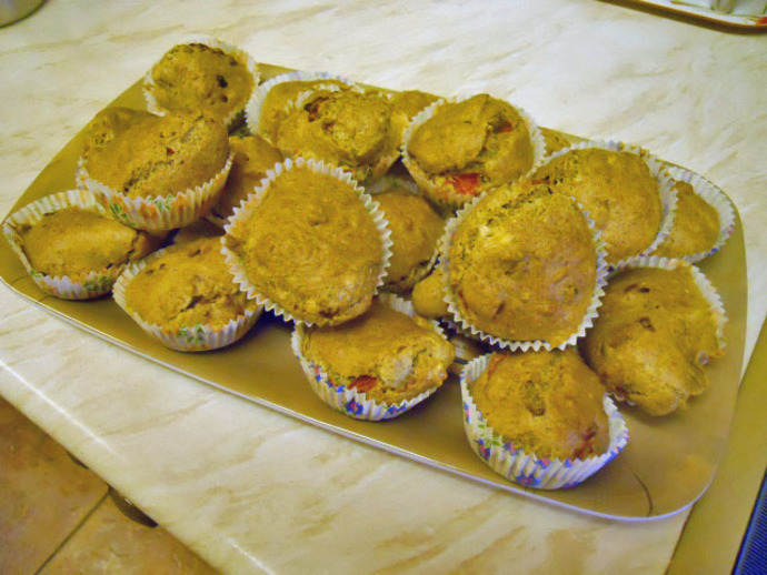 muffins, goat cheese, red pepper