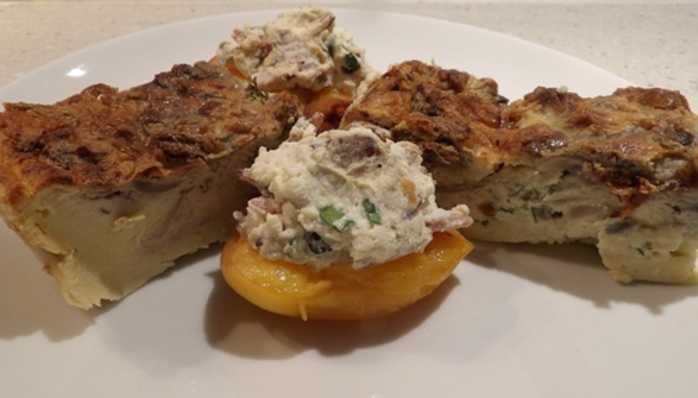 mushroom,gougere,with,peaches,stuffed,with,ricotta,cheese