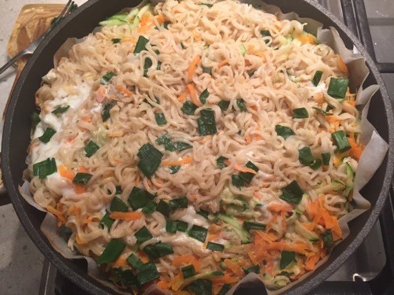 mixing,vegs,with,noodles  - Easy Noodle Savoury Cake