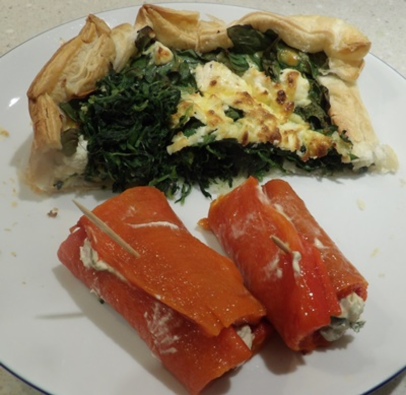 open,Greek,pie,with,capsicums,stuffed,with,cheese  - Open Greek Pie With Mascarpone Filled Capsicums