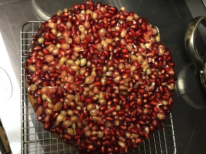 Orange, pomegranate, cake, mixture
