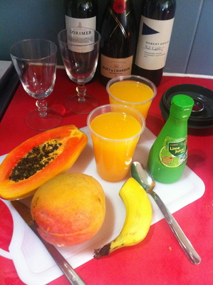 papaya, mango, punch, non-alcoholic