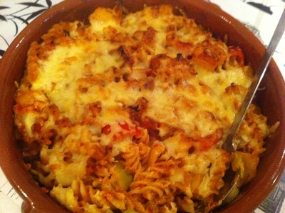 pasta, bake, vegetable, one pot meal, cheese, creme fraiche