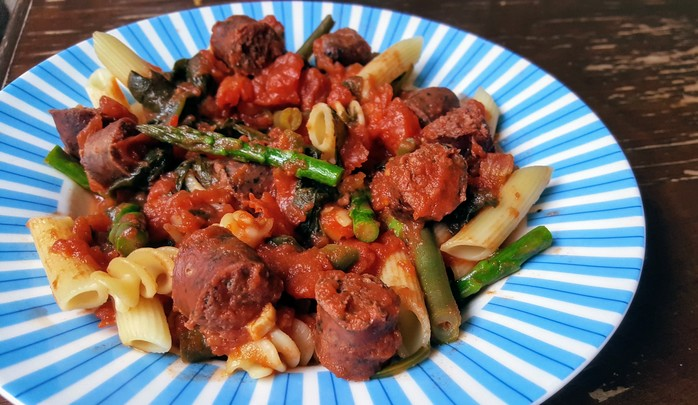 Pasta with Tomato, Sausages and Greens