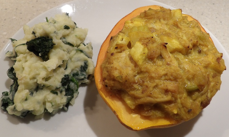 pawpaw,filled,with,curry,chicken,served,with,spinach,puree  - Pawpaw Filled with Chicken Curry Served with Creamy Spinach Mash