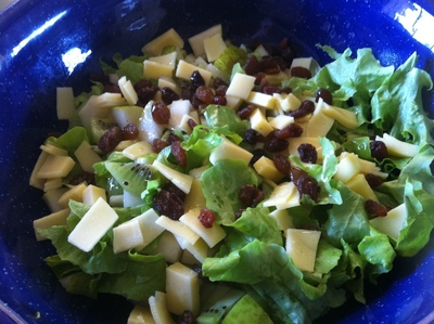 pear kiwi fruit salad, salad, summer salad, lunch salad